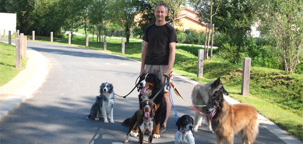 """Gilles Rodach, président des """"Amis de Doudou"""", en promenade avec les chiens."""
